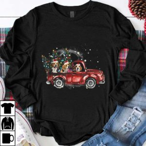 Awesome Beagle Dogs Ride Red Truck Christmas Funny Xmas Gifts shirt