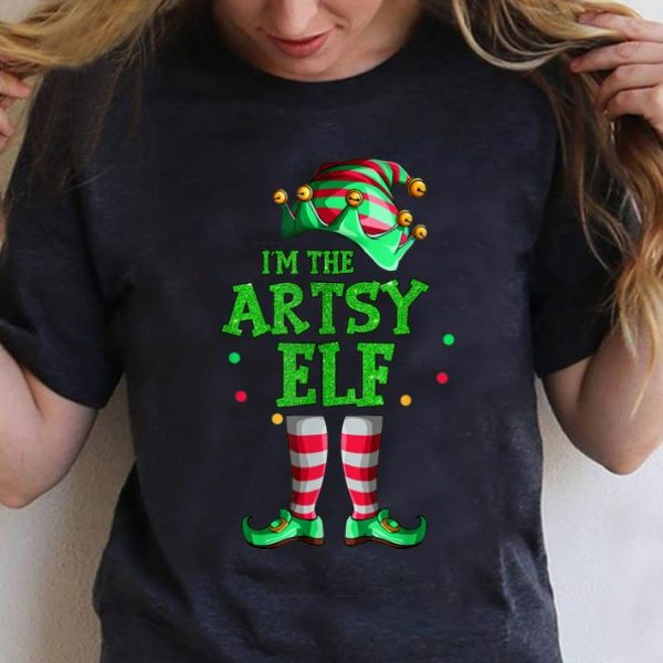 Awesome Family Matching Funny Christmas Group gift I'm The Artsy Elf T-Shirt B07ZGL5NHQ.png