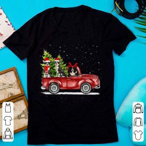Christmas Three Border Collie Ride Red Truck Xmas Santa Hat sweater