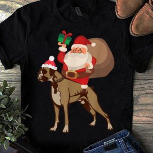 Official Santa Riding Boxer Christmas Pajama Gift shirt