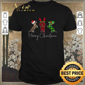 Original Dachshund leopard Plaid Printed Merry Christmas shirt