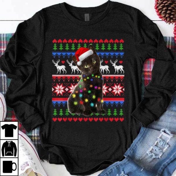 Original Santa Black Cat Christmas Light Ugly Christmas Sweater shirt