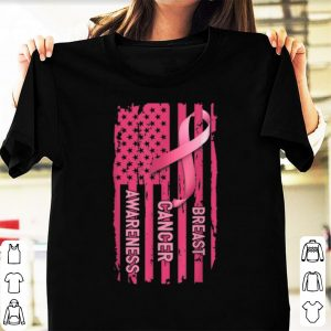 Premium American Flag Pink Riboon Breast Cancer Awareness shirt