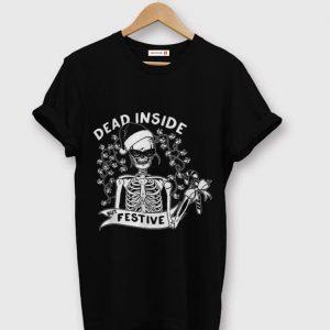 Premium Dead Inside But Festive Christmas Skeleton Santa shirt