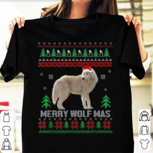 Premium Funny Wolf Santa Hat Ugly Christmas Sweater Funny Holiday shirt