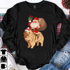 Premium Santa Riding Keeshond Christmas Pajama Gift shirt