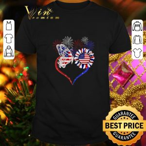 Pretty Fireworks Butterfly love sunflower American flag shirt