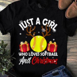 Pretty Just A Girl Who Loves Softball And Christmas Funny Gifts shirt