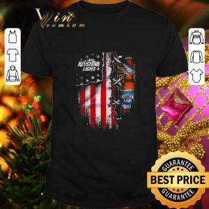 Pretty Keystone Light beer inside American flag shirt