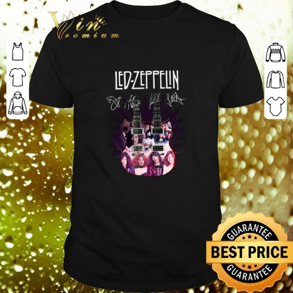 Pretty Led Zeppelin signatures two guitar shirt