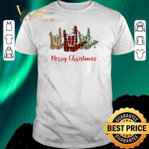 Pretty Merry Christmas Leopard Plaid sign language shirt sweater