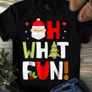Top Christmas Kids Boys Oh What Fun Xmas Tree Santa Gifts shirt