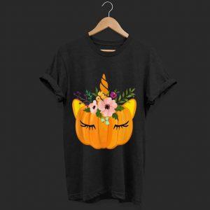 Top Flower Unicorn Pumpkin Costume Thanksgiving Gift Girl shirt