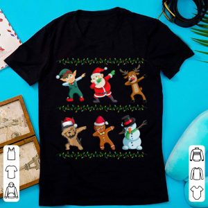 Top Funny Dabbing Santa Yorkshire Terrier And Friends Christmas shirt