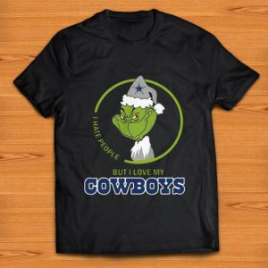 Top I hate people but I love my Dallas Cowboys Grinch shirt
