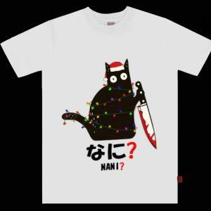 Top Nani Santa Black Cat Hold Knife Christmas shirt