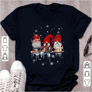 Awesome Hanging With Red Gnomies Sewing Machine Christmas shirt