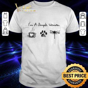 Awesome I'm a simple woman i like coffee dog paw dragonfly shirt