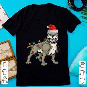 Awesome Pitbull Christmas pajama Santa Hat Lights Gift for Dog Lover sweater