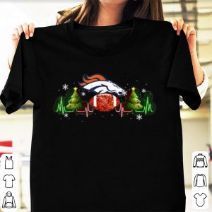 Great Denver Broncos Christmas Tree Heartbeat shirt