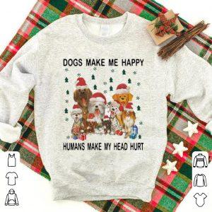 Hot Christmas Santa Dogs Make Me Happy Humans Make My Head Hurt shirt