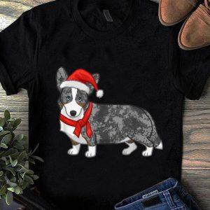 Hot Cute Blue Merle Cardigan Corgi Christmas Santa Hat sweater