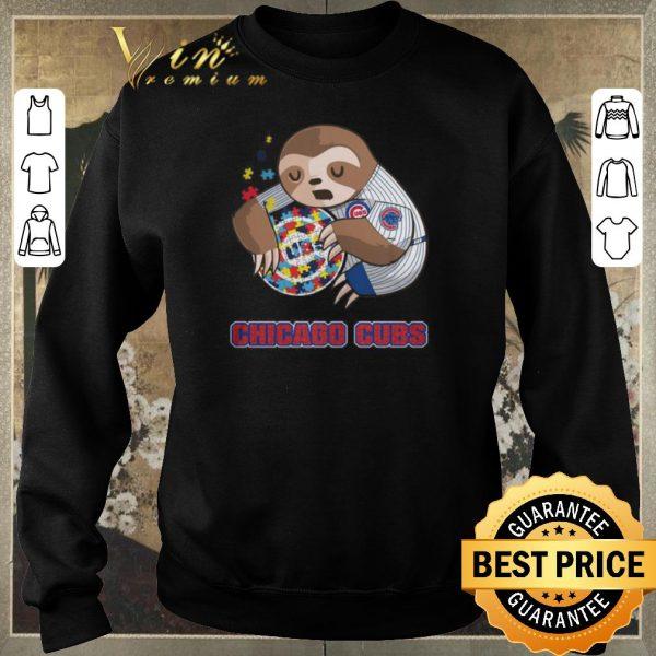 Hot Sloth hug Autism Chicago Cubs shirt sweater