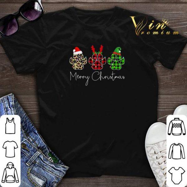 Merry Christmas Dog Paws Leopard Plaid shirt