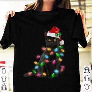 Nice Black Cat christmas light funny cat lover christmas sweater