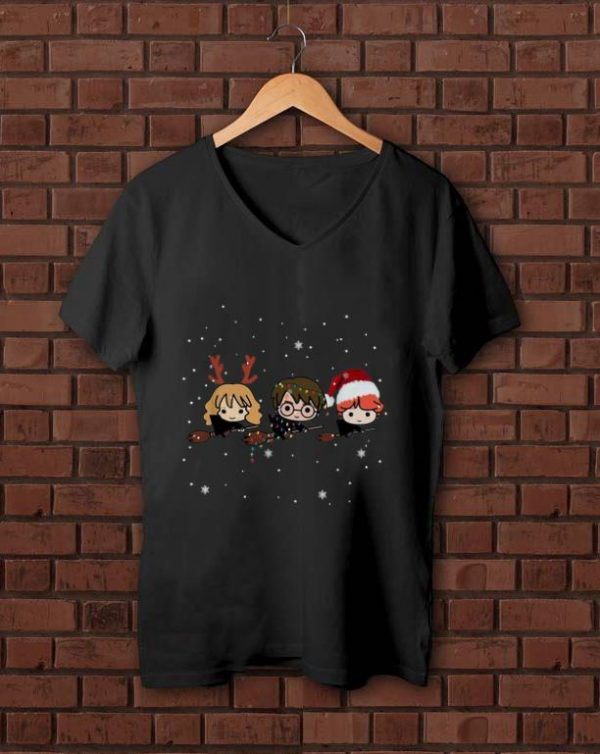 Nice Harry Potter chibi riding a broom Christmas shirt