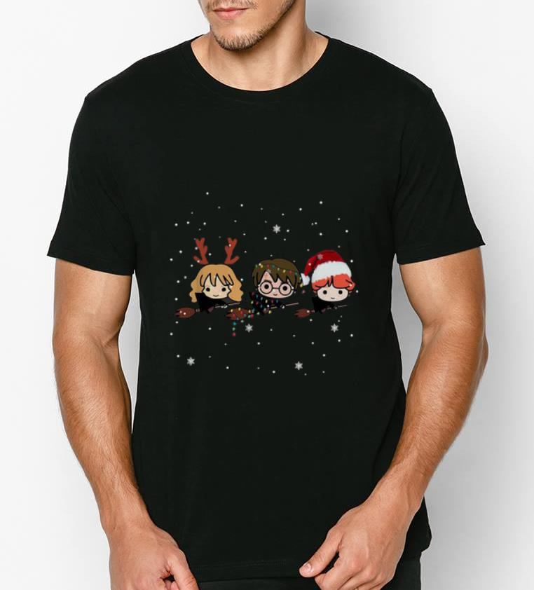 Nice Harry Potter chibi riding a broom Christmas shirt 4 - Nice Harry Potter chibi riding a broom Christmas shirt