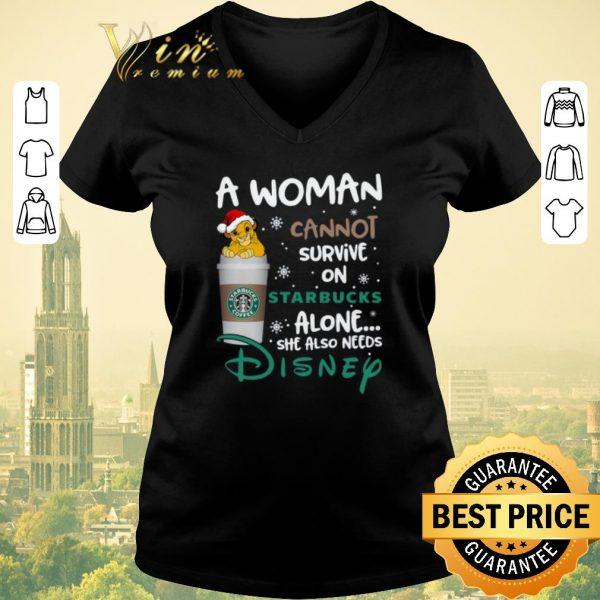 Nice Simba A woman cannot survive on Starbucks coffee alone Lion King shirt sweater