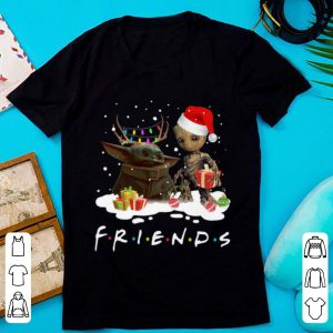 Pretty Santa baby Yoda and baby Groot Reindeer light christmas shirt