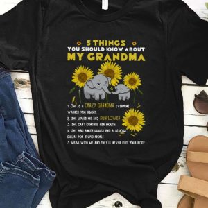 Awesome Elephant Sunflower 5 Things You Should Know About My Grandma shirt
