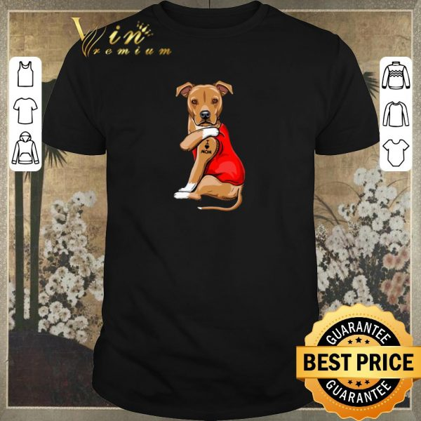 Funny American Pit Bull Terrier Tattoos I Love Mom shirt sweater