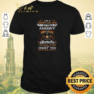 Hot Biker skull i'm a grumpy old man i was born in august shoot you shirt sweater
