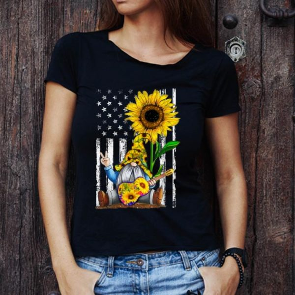 Premium Gnome Playing Guitar Sunflower American Flag shirt