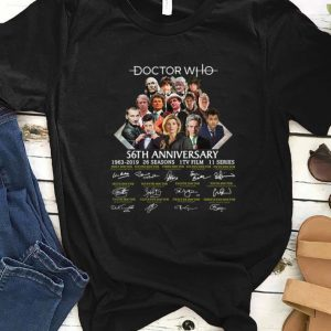 Top Doctor Who 56th anniversary 1963-2019 signatures shirt