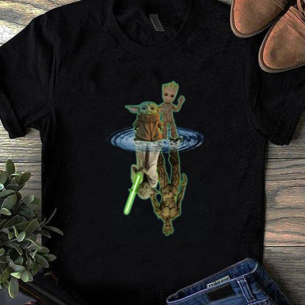 Awesome Baby Yoda And Baby Groot Water Reflection Master Yoda And Groot shirt