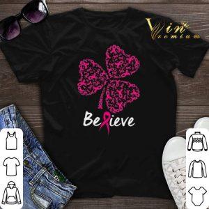 Breast cancer Awareness believe shamrock St. Patrick's day shirt sweater