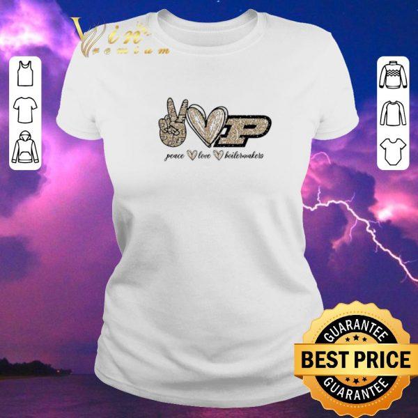 Pretty Peace Love Purdue Boilermakers logo shirt sweater