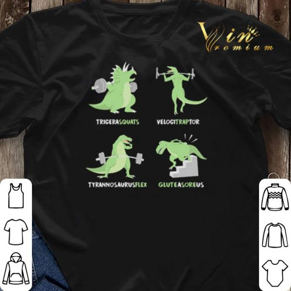 Weight Lifting Workout Dinosaur Tricerasquats Velocitraptor shirt sweater