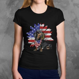 Official Daschund Sunflower America Flag Dog Lovers shirt