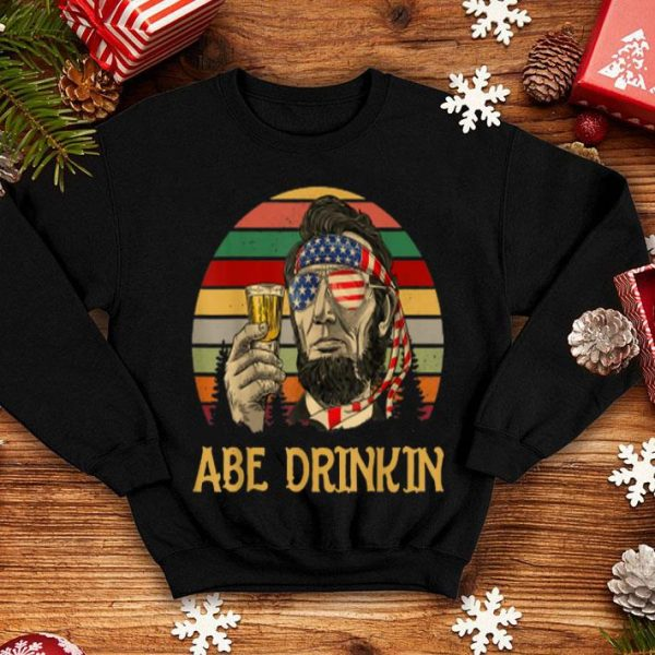 Abe Drinkin Beer Abraham Lincoln Vintage 4th Of July Shirt
