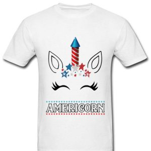 Americorn Unicorn Face 4th Of July Gift Us Flag Star Merica Shirt