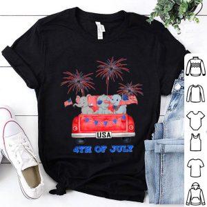 Baby Elephant Car 4th Of July American Flag shirt
