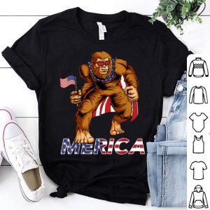 Bigfoot American Flag Sunglasses Cape USA 4th of July shirt