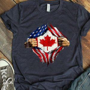 Canadian Blood Inside Me American Flag Shirt
