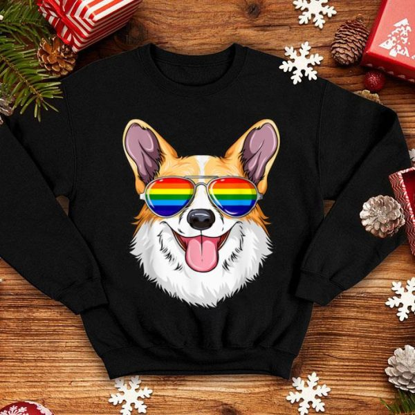 Corgi Gay Pride Flag Lgbt Rainbow Sunglasses Corgi Shirt