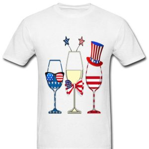 Happy Independence Day Drinking Wine American Flag shirt